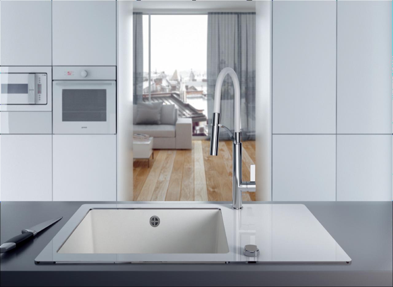 Кухонная мойка Deante CAPELLA стекло (белое)/гранит (алебастр) край круглый