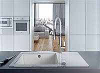 Кухонная мойка Deante CAPELLA стекло (белое)/гранит (алебастр) край круглый, фото 1
