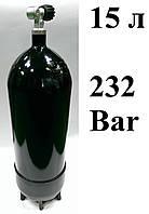 Баллон для дайвинга 15 литров Eurocylinder; 232 Bar; чёрный