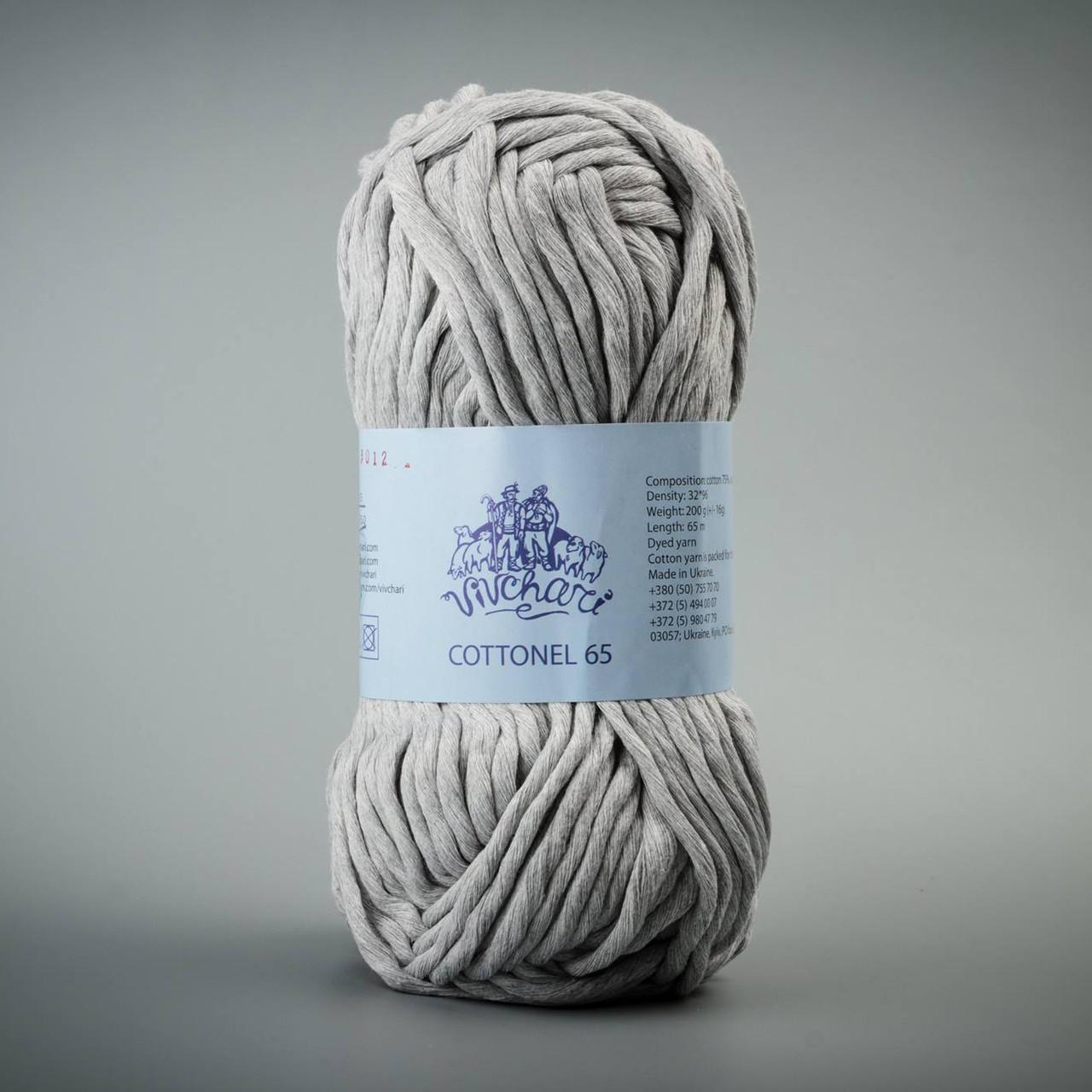 Летняя пряжа Коттонель 65 Vivchari, цвет Светло-серый