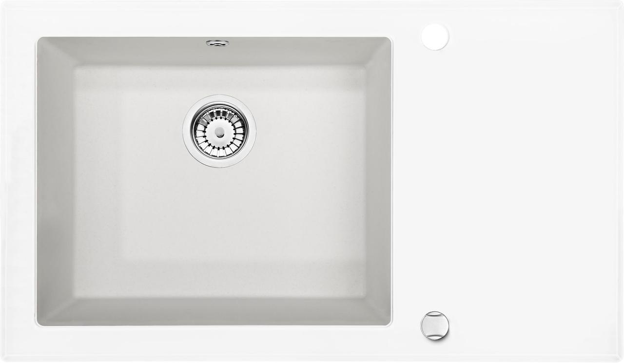 Кухонная мойка Deante CAPELLA стекло (белое)/гранит (алебастр) край граненый