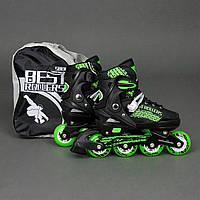 """Ролики Best Rollers зеленые арт. 5800 /размер """"S"""" 31-34/ колёса PU, переставные"""