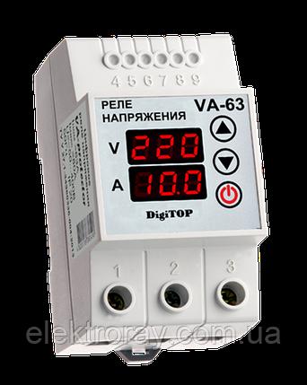 Реле напряжения с контролем тока VA-63A DIN-рейка DigiTOP , фото 2