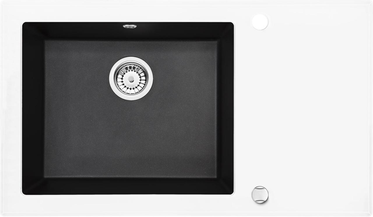 Кухонная мойка Deante CAPELLA стекло (белое)/гранит (графитовый металлик) край граненый