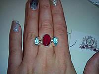 Кольцо с натуральными камнями рубин+топаз в серебре