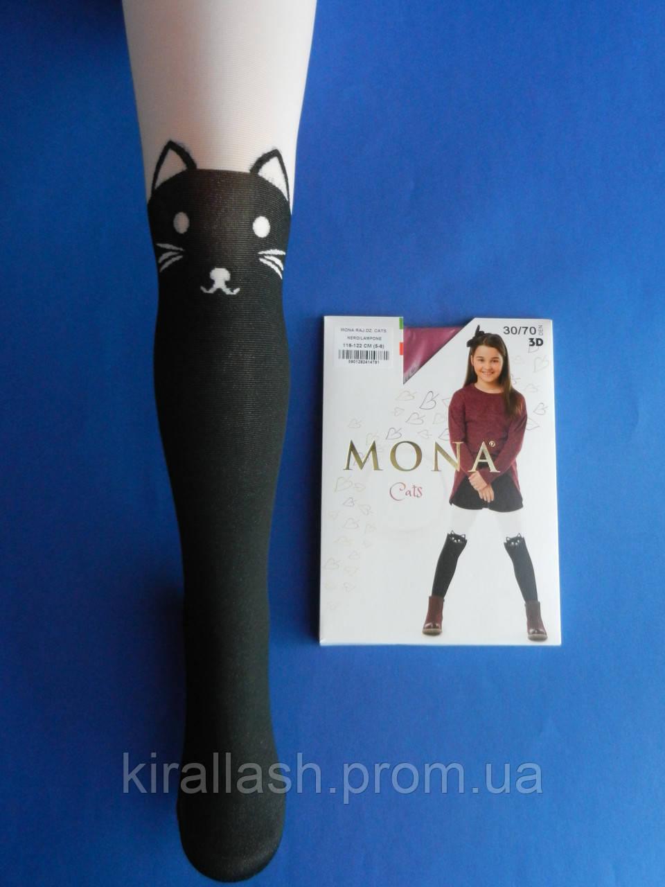 """Колготки (рост 128-134) ЧЁРНО БЕЛЫЕ """"Mona"""" 30/70 Den Cats ,3D Польша"""