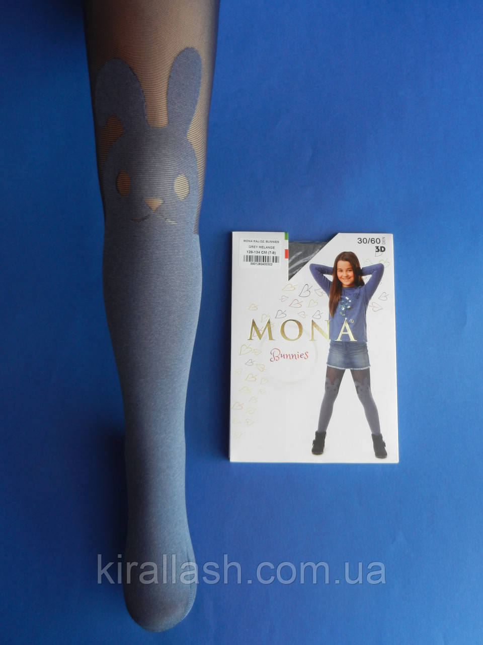 """АКЦИЯ! Колготки (рост 152-158) СИНИЕ с рисунком """"Mona"""" 30/60den Bunnies 3D Польша"""