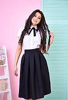 Костюм модный рубашка с коротким рукавом и расклешенная юбка миди Ks536