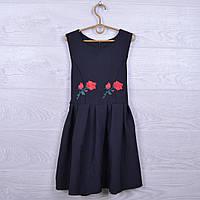 """Школьный сарафан """"Роза"""" для девочек. 122-140 см. Черный. Школьная форма оптом"""
