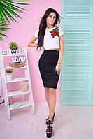 Костюм женский модный топ с вышивкой и юбка-карандаш Ks538