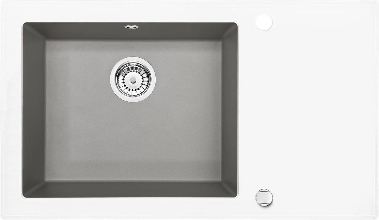 Кухонная мойка Deante CAPELLA стекло (белое)/гранит (серый металлик) край круглый