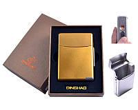 Портсигар с USB зажигалкой Gold в подарочной упаковке под пачку сигарет, спираль накаливания
