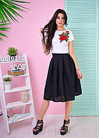 Костюм женский модный топ с вышивкой и пышная юбка миди Ks539