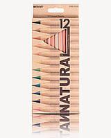 """Карандаши цветные MARCO 6100-12 12цв.серия """"Natural"""" дер.кедр"""