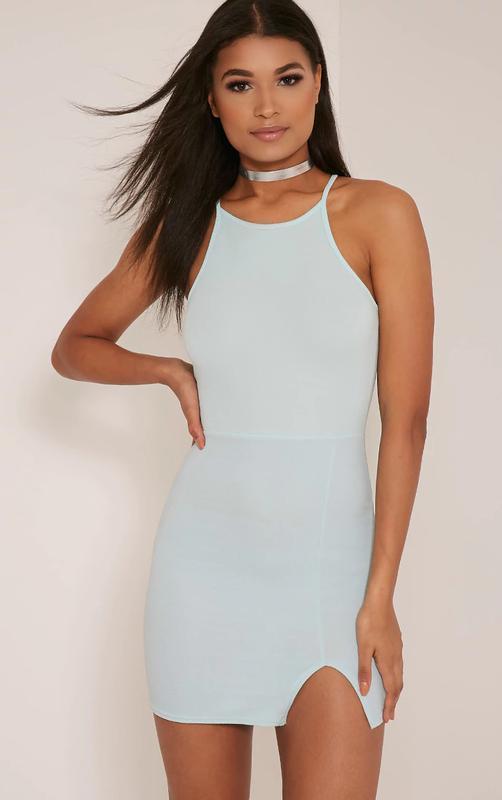 Новое платье цвета мяты с разрезом PrettyLittleThing