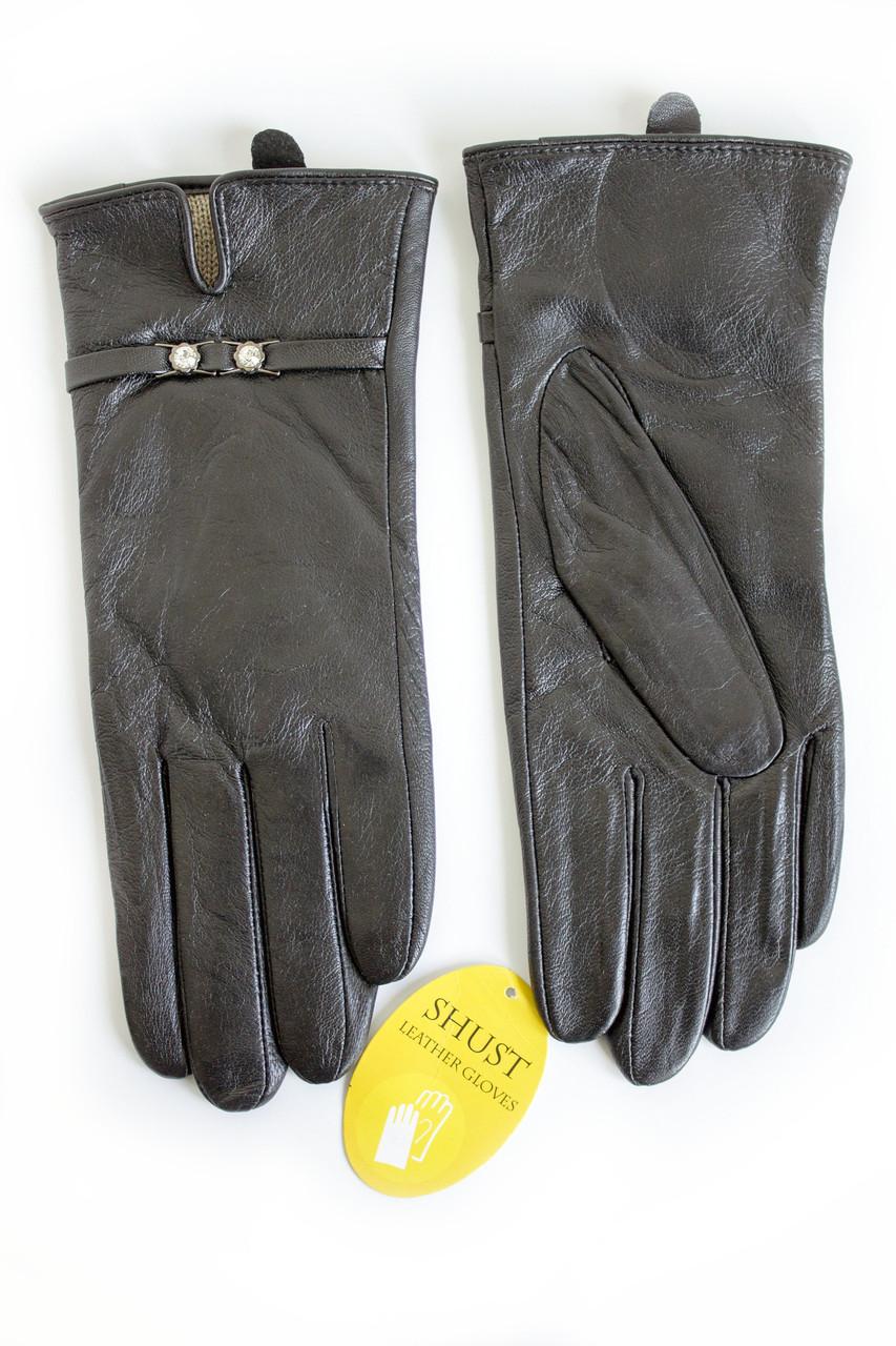 Женские кожаные перчатки Вязка W22-160041