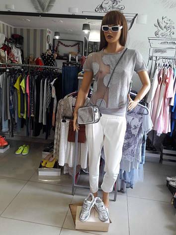 Женская футболка дизайнерская летняя серая с коротким рукавом, фото 2