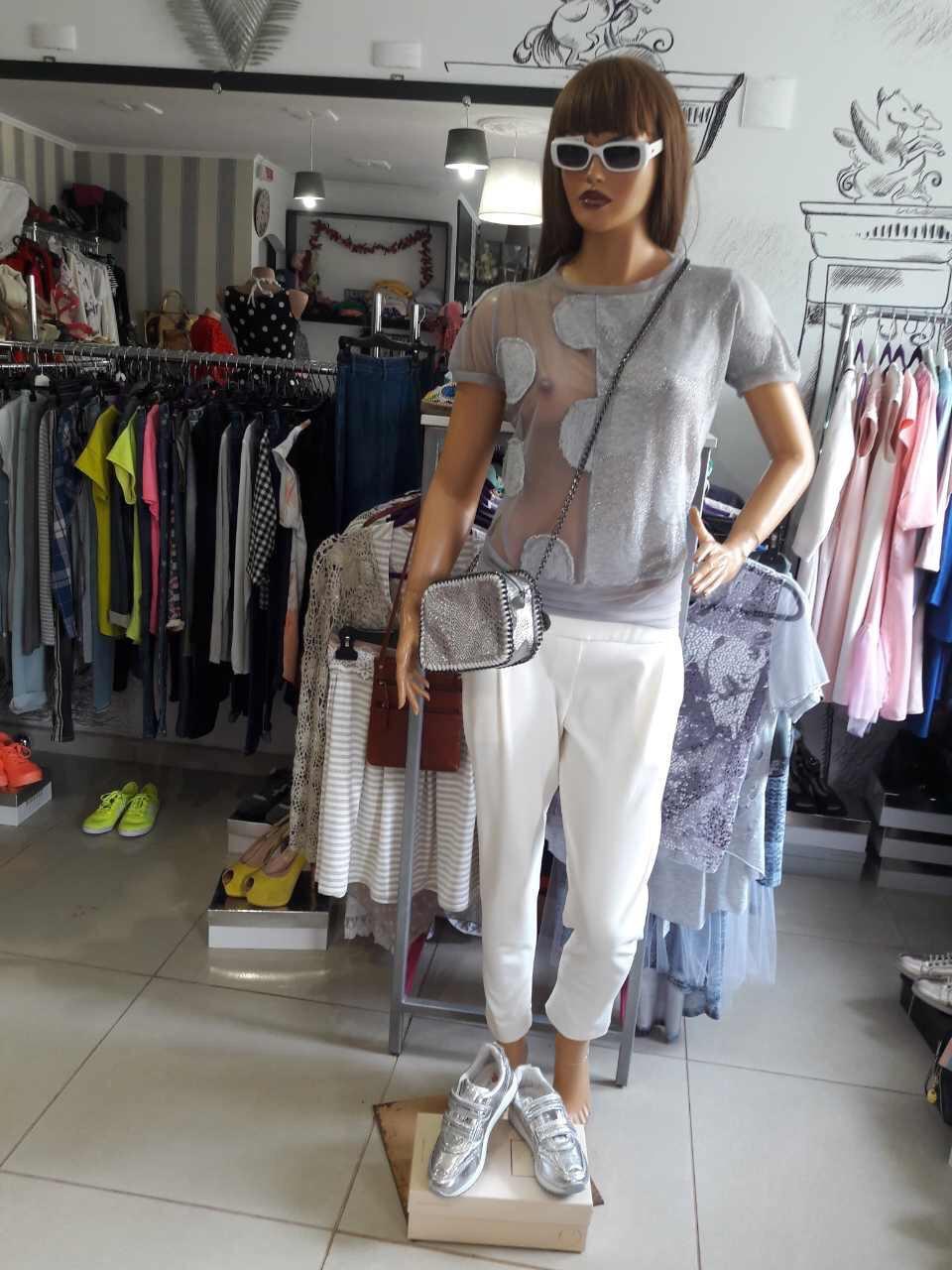 Женская футболка дизайнерская летняя серая с коротким рукавом