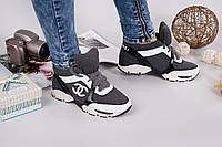 Кроссовки Ch@nel.  Качественная копия.  Обувной трикотаж+нат. кожа.Цвет темно-серый.Размерный ряд: 36-41р