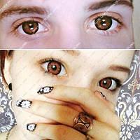 """Цветные косметические линзы """"Медовые"""" на тёмных глазах"""