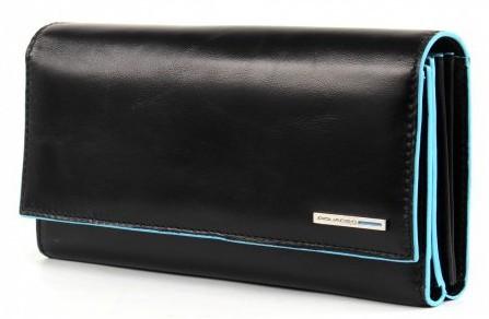 Классный женский кожаный кошелек Piquadro на молнии с тремя отделениями  PD3411B2_N черный