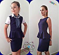 Школьный сарафан для девочки с баской (подросток)
