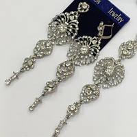 Шикарний набір довгі сережки + браслет в сріблі з прозорими кристалами