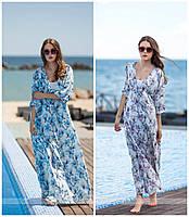 """Модное женское платье """"двойка"""" принт орхидея норма / Украина / софт+микродайвинг"""