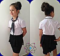 Школьная блузка для девочки белая горох + галстук
