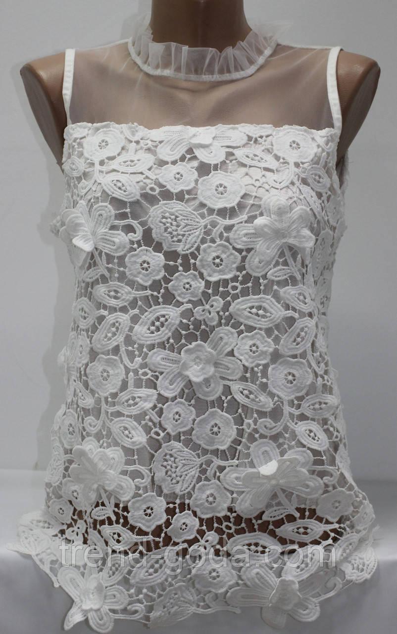 Блуза женская летняя, плечи сеточка, воротник стойка, белая