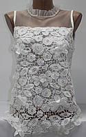 Блуза женская летняя, плечи сеточка, воротник стойка, белая, фото 1