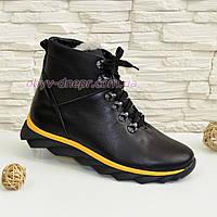 Мужские ботинки на шнуровке, натуральная черная кожа. 43 размер