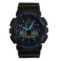 РАСПРОДАЖА! Спортивные часы Casio G-Shock ga-100 (касио джи шок) BLACK-BLUE
