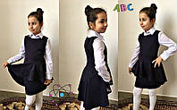 Школьный сарафан для девочки с баской перфорация