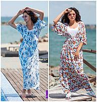 """Модное женское платье """"двойка"""" принт батал / Украина / софт+микродайвинг"""