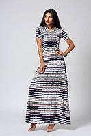 Красивое летнее длинное платье в полоску