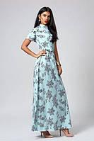 Модное  летнее длинное бирюзового платье с качественной ткани