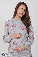 Свитшот для беременных и кормящих Chiara rose, серый меланж принт розы