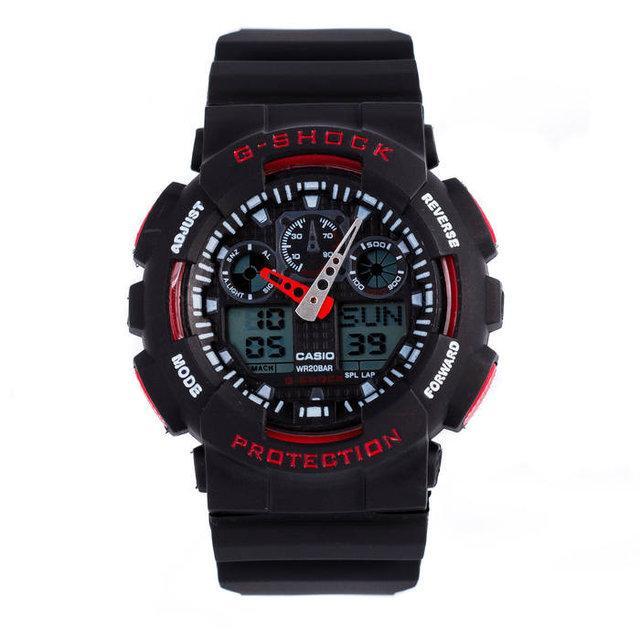 Часы  Casio G-Shock ga-100 Касио Джи Шок (Черные с Красным), Наручний годинник, Стильные! Спортивные