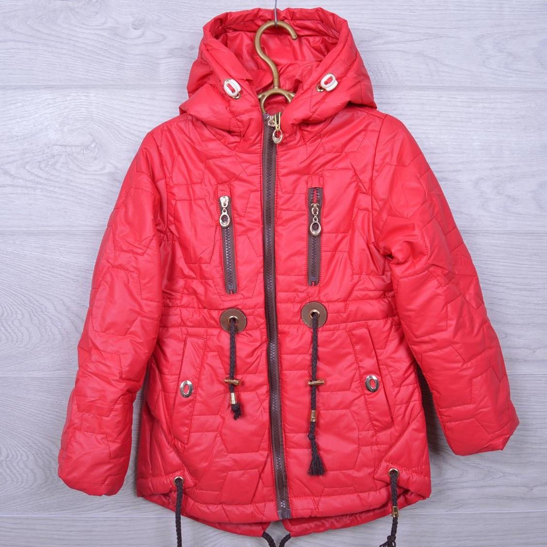 Куртка детская демисезонная Кузя #А-8 для девочек. 110-134 см. Красная. Оптом.
