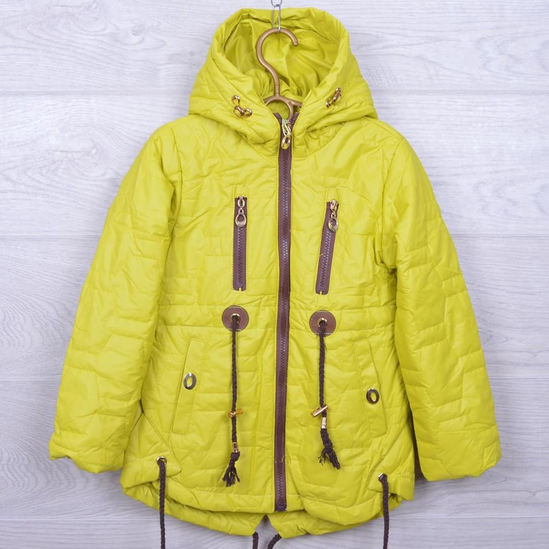cbdf390c0b3 Куртка детская демисезонная Кузя  А-8 для девочек. 110-134 см. Желтая. Оптом .