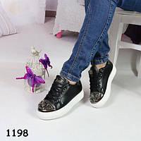 38-й!!!   Кеды женские черные на платформе +носочек камушки, эко-кожа, женская спортивная обувь, фото 1
