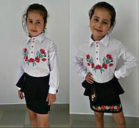 Школьная блузка для девочки белая с вышивкой Подросток