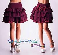 Школьная юбка для девочки Оборочка с атласным бантом