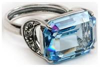 "Кольцо ""Шквал"" с кристаллами Swarovski, покрытое серебром (e5143040)"