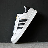 Кроссовки мужские Adidas Superstar белые с черными полосками