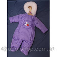 Зимний комбинезон для новорожденных (0-6 месяцев) сиреневый, фото 2