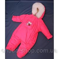 Зимний комбинезон для новорожденных (0-6 месяцев) ярко-розовый, фото 2