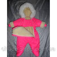 Зимний комбинезон для новорожденных (0-6 месяцев) ярко-розовый, фото 3