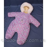 Зимний комбинезон для новорожденных (0-6 месяцев) сиреневый в сердечки, фото 2